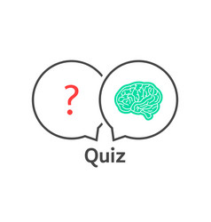 Thin line quiz icon with brain vector