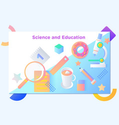 Website or mobile app landing page of science and vector