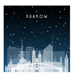 Winter night in krakow night city in flat style vector