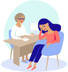 Woman having consultation with doctor vector