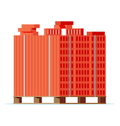 wooden pallet with red bricks vector image