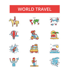 world travel thin line icons linear vector image