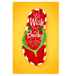 christmas flip flop poster vector image vector image
