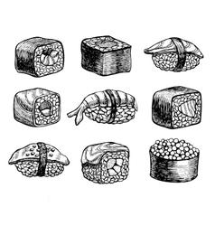 hand drawn sushi set Vintage sketch vector image