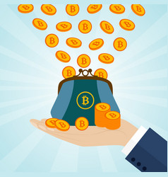 hand holding a purse with bitcoins vector image vector image