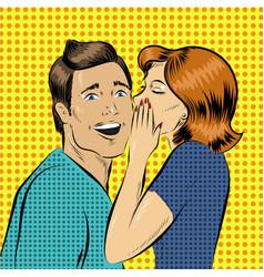 in pop art style woman whisper vector image