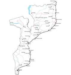 Mozambique Black White Map vector image vector image