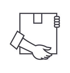 post box with hands line icon sign vector image