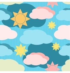 seamless pattern with clouds and sun vector image vector image