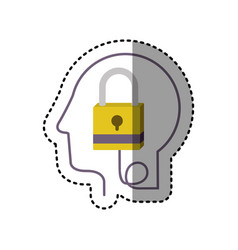 Sticker silhouette profile human head with closed vector
