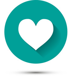 White heart icon on green background with shadow vector image vector image