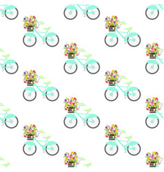 bicycle with spring flowers seamless pattern vector image