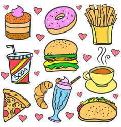 food and drink of doodle set vector image vector image
