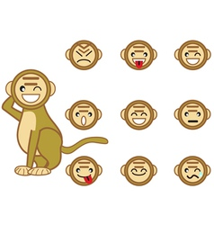 funny monkey face vector image vector image