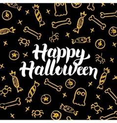 Happy Halloween Gold Black Postcard vector image vector image