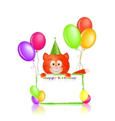 red cat with greeting card and balloons on vector image vector image