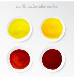 Set real watercolor circle vector image