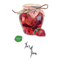 strawberry jam in a glass jar and fresh berry vector image