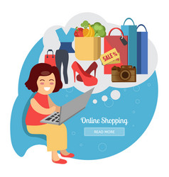 woman making online purchases vector image vector image
