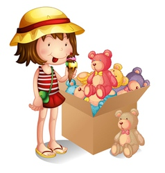 A young girl beside a box of toys vector image vector image