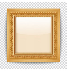 empty gold frame on transparent background wooden vector image vector image