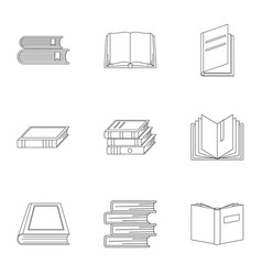 Reference publication icons set outline style vector