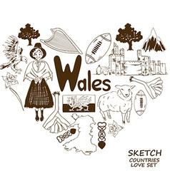 Wales symbols in heart shape concept vector image vector image