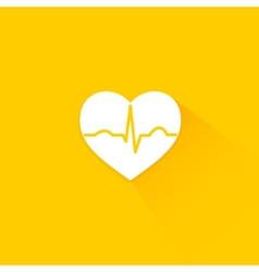 Yellow flat long shadow cardiology icon vector image vector image