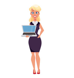 Young cartoon businesswoman holding laptop vector