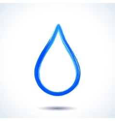 Blue watercolor brush painted ink water drop vector image vector image