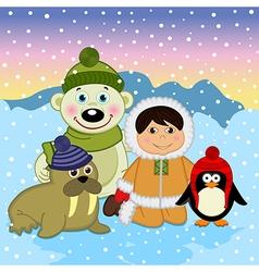 Eskimo boy with arctic animals vector image