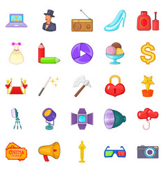 free time icons set cartoon style vector image