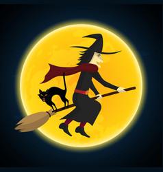 halloween witch flying on broom growl black cat vector image