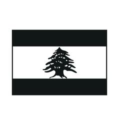 Lebanon flag monochrome on white background vector image vector image
