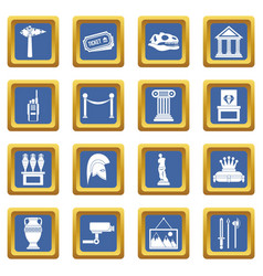 Museum icons set blue vector