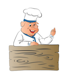 pig chef giving ok gesture vector image vector image