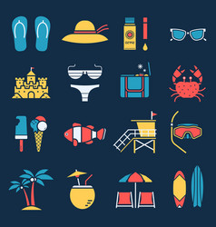 summer beach icons vector image