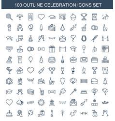100 celebration icons vector image