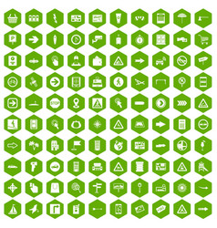 100 pointers icons hexagon green vector