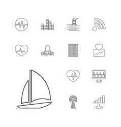 13 wave icons vector