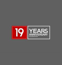 19 years anniversary in square with white and red vector