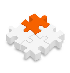 3d jigsaw puzzle pieces white pieces with one vector image