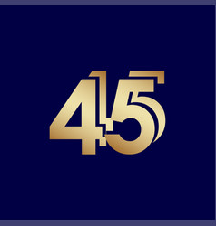 45 years anniversary celebration blue gold vector