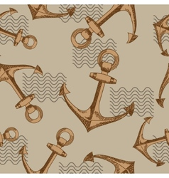 Anchors and waves Seamless pattern vector