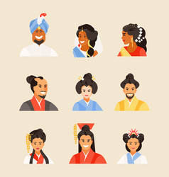 Ancient chinese japanese hindu people vector