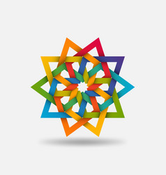 Arabic geometric multicolor circular pattern vector