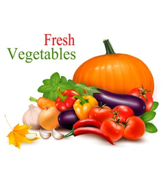 Autumn background with fresh vegetableses vector