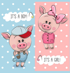 Baby shower greeting card with cute pigs vector