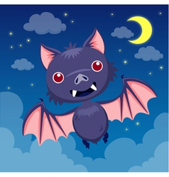 Bat on night sky vector image