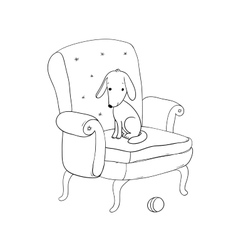 Beautiful vintage chair cute dog and a ball vector